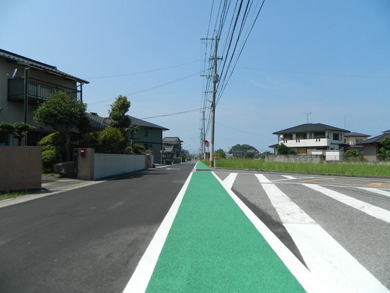 豊前市内路側帯薄層カラー舗装工事